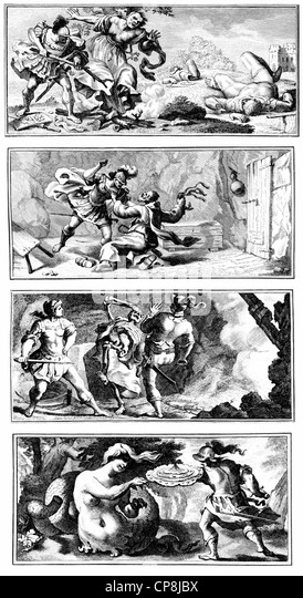 4 images from Ricciardetto by Niccolò Forteguerri, 1674-1735, an Italian cardinal, Historische Zeichnung aus - Stock Image