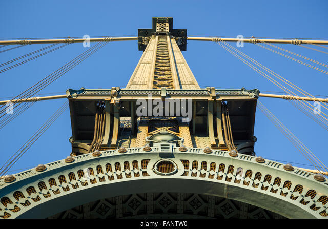 Beaux-Arts style architectural detail of the Manhattan Bridge Tower with arch and cables at sunset, Brooklyn, New - Stock-Bilder
