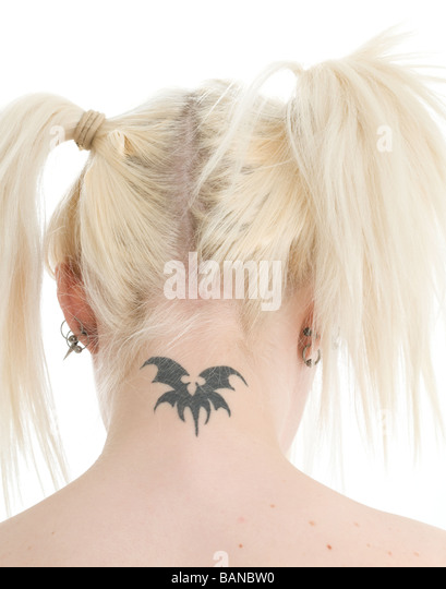 Young blonde woman with neck tattoo - Stock-Bilder