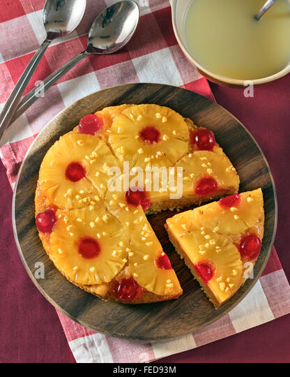 Pineapple upside down cake - Stock Image