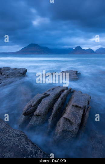 The Cuillin mountains from the shores of Elgol, Isle of Skye, Scotland. Winter (November) 2012. - Stock-Bilder