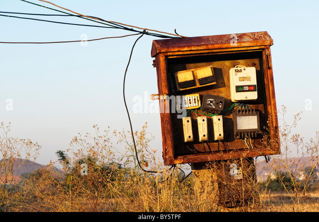 Electrical fuse box in the rural indian countryside. Andhra Pradesh, India - Stock Image
