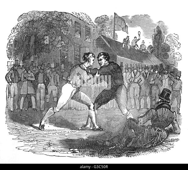 Illustration, two men wrestling in the open air, watched by a circle of spectators.      Date: 1832 - Stock Image