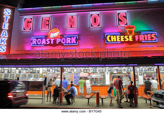 Philadelphia Pennsylvania South Philly South 9th Street Geno's restaurant sandwich shop business landmark Philly - Stock Image