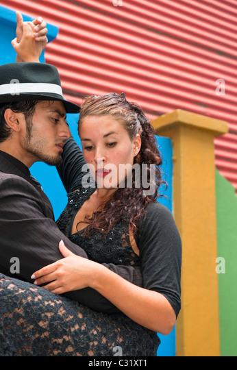 Couple of Tango dancers, El Caminito, La Boca district, Buenos Aires, Argentina - Stock Image