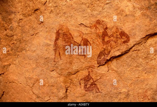Libya Akakus Prehistoric paintings on rock - Stock-Bilder
