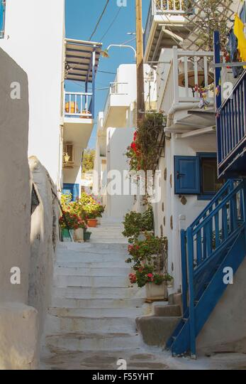 Flowers in mykonos street greek stock photos flowers in mykonos street greek stock images alamy - Flowers native to greece a sea of color ...
