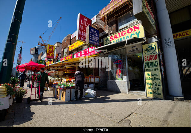 China town stalls, Toronto city, ON, CA - Stock Image