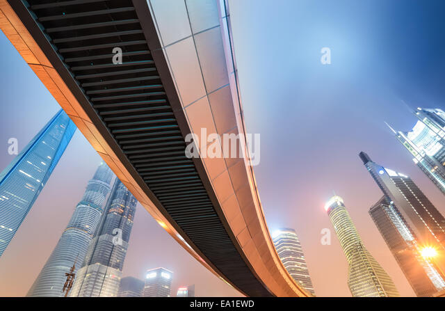 night view of modern metropolis in shanghai - Stock Image