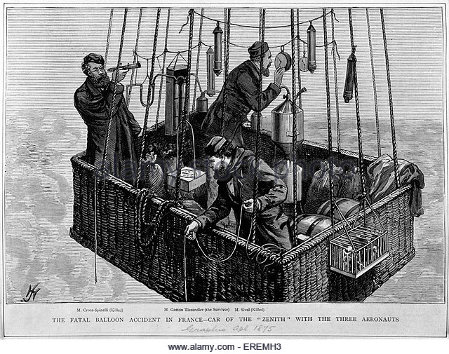 Early hot air ballooning accident. Caption reads: 'The fatal balloon accident in France - car of the 'Zenith' - Stock Image