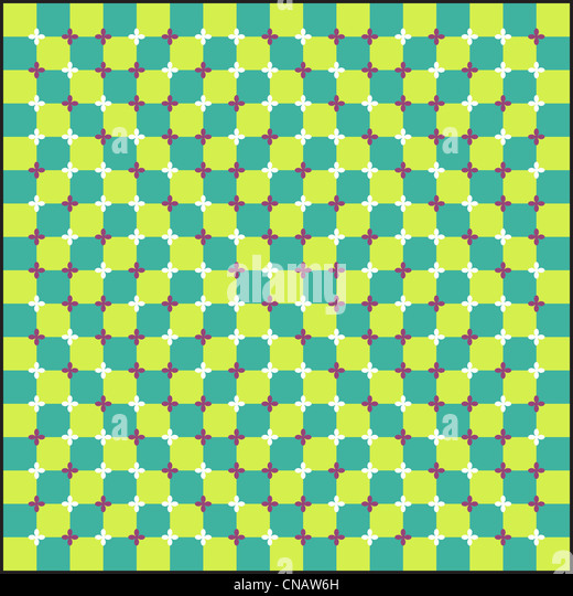 Optical illusion, colorful blocks, different shapes - Stock Image