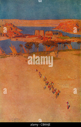 The Island of Philae, Egypt; a vintage 1914 printed color halftone reproduction of the Jules Guerin illustration. - Stock Image