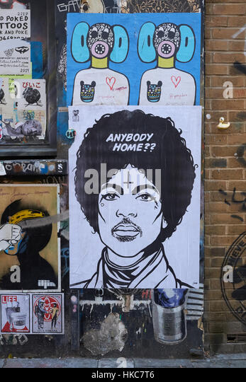 Street art by artist 'TONE'. Buxton St, Shoreditch, East London, England. - Stock Image