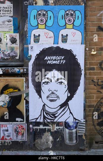 Street art by artist 'TONE'. Buxton St, Shoreditch, East London, England. - Stock Image