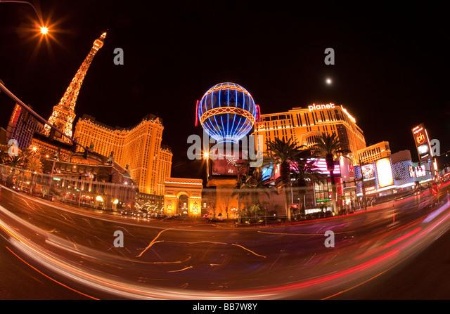 Car light trails and casino illuminations in Las Vegas in Nevada USA - Stock Image