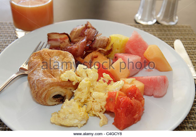 Dominican Republic Santo Domingo Ciudad Colonia Mercure Comercial hotel business hospitality breakfast food plate - Stock Image