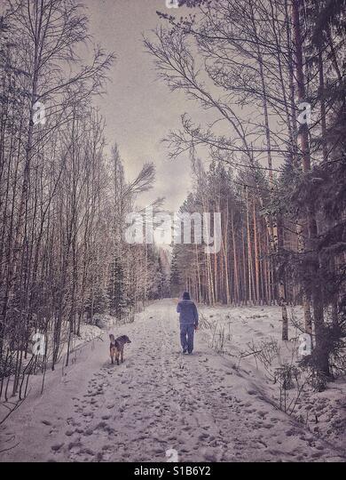 Walking with my dog - Stock-Bilder