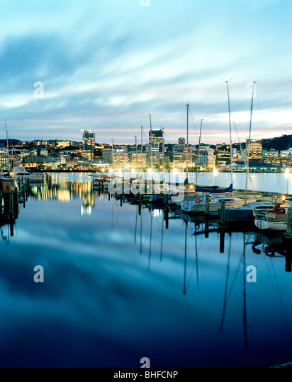 Sailing boats at Chaffers Marina at Lambton Harbour in the evening, view at Central Business District, Wellington, - Stock Image