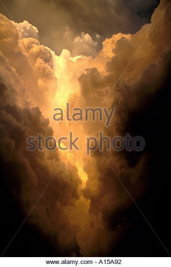 Clouds in Tornado Producing Thunderstorm Lavern Kansas, Heaven Golden Light - Stock Image