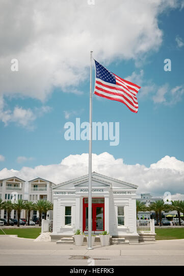 A tiny United States Post Office in Seaside, Florida, USA. - Stock Image