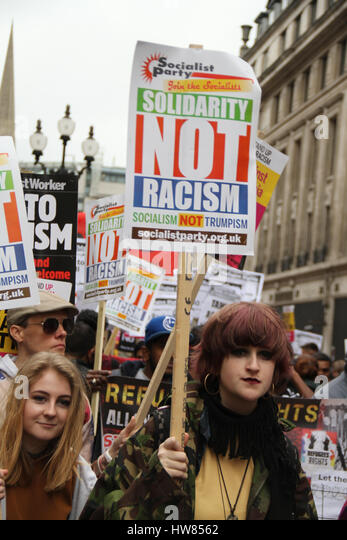London, UK. March 18, 2017: Thousands of demonstrators, participate in the Stand Up To Racism demonstration for - Stock Image