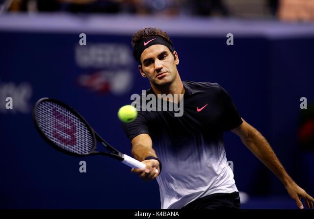 New York, United States. 04th Sep, 2017. US Open Tennis: New York, 4 September, 2017 - Roger Federer during his - Stock Image