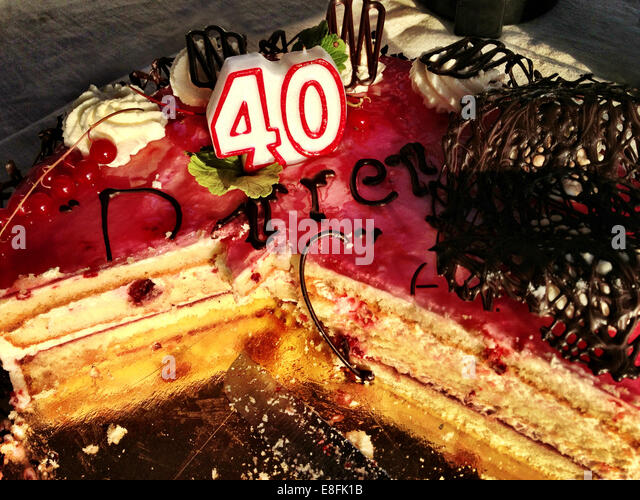 Sweden, Svealand, Stockholm, 40th birthday cake - Stock Image