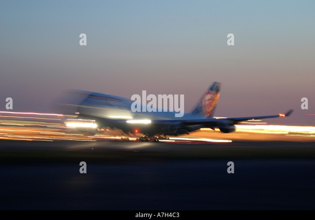 Night take off of British Airways Boeing 747 at London Heathrow Airport UK 2004 - Stock Image