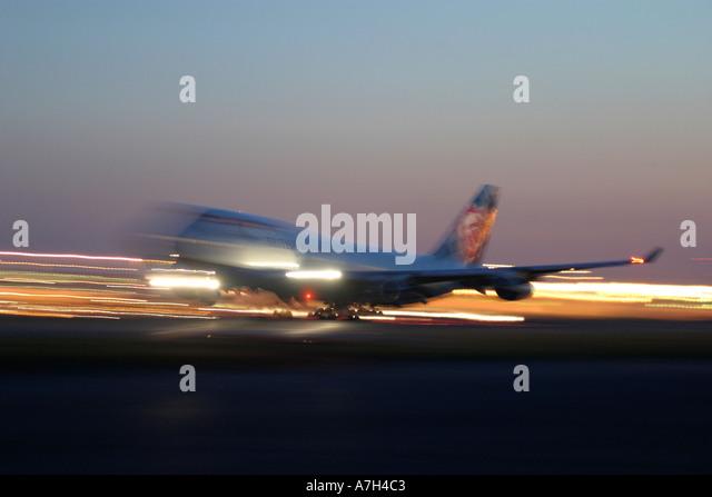 Night take off of British Airways Boeing 747 at London Heathrow Airport UK 2004 - Stock Image