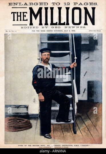 Naval Gunnery Instructor Cover of the popular Victorian magazine The Million with the instructor on HMS Tartar - Stock Image