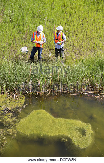 High angle view of ecologists working near riverbank - Stock Image