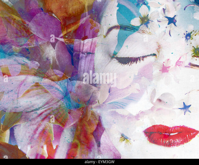 Composing with coloured blossoms and portrait of a woman, - Stock Image