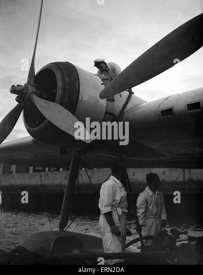 Series of images for Daily Herald Feature flight to Australia. 26th June 1938 Imperial Airways staff check the Bristol - Stock Image