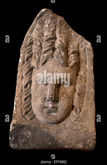 Tragedy mask, 2nd-3rd C. AD Roman Germanic Museum Cologne Germany - Stock Image