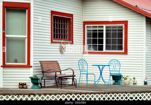 House and porch. Joseph, Oregon - Stock Image