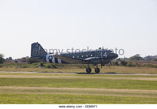 Douglas C-47 Skytrain (Dakota) transport aircraft taking off at Shoreham Airshow, August 2013 - Stock Image