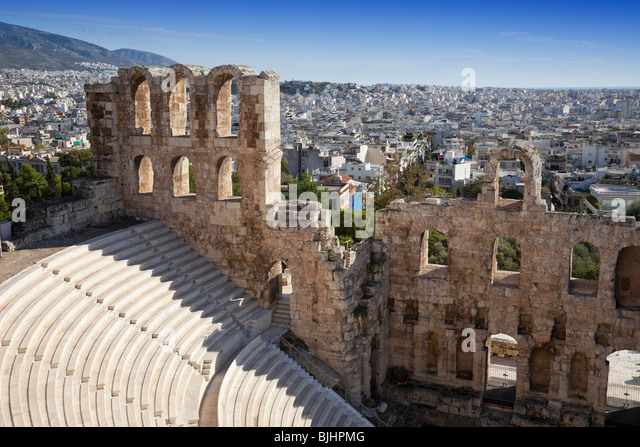 Irodium Theater on Acropolis in Athens. - Stock Image