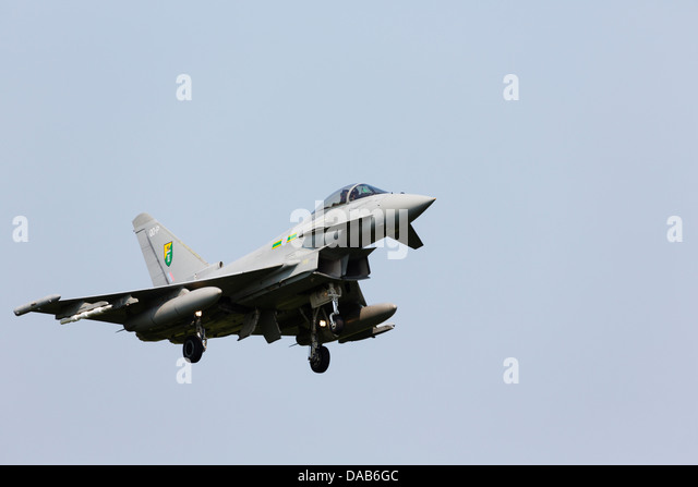 BAE Eurofighter Typhoon from RAF Coningsby No3 Squadron RAF on approach to RAF Waddington - Stock Image