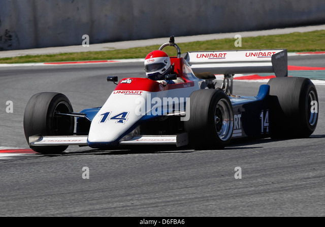 FIA Masters Historic Formula One race at Montmelo 12th April 2013 - Simon Fish in 1980 Ensign N180 - Stock Image