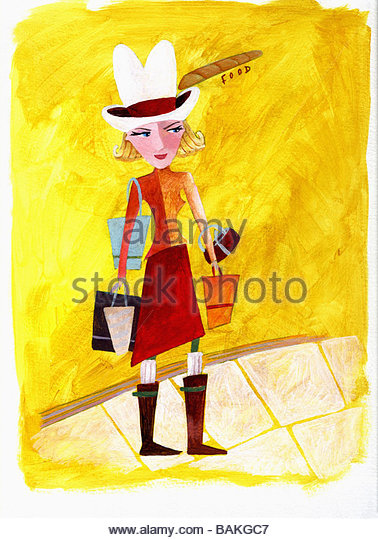 Cowgirl with Shopping Bags - Stock-Bilder