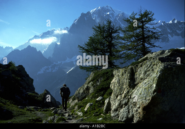 Mont Blanc (Monte Bianco) and the Peuterey Ridge from Mont Chétif, over Val Véni, Italy - Stock Image