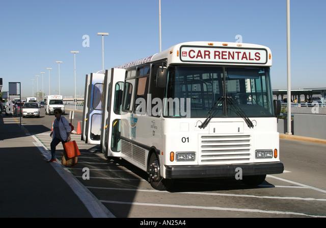Albuquerque New Mexico Airport rental car shuttle W - Stock Image