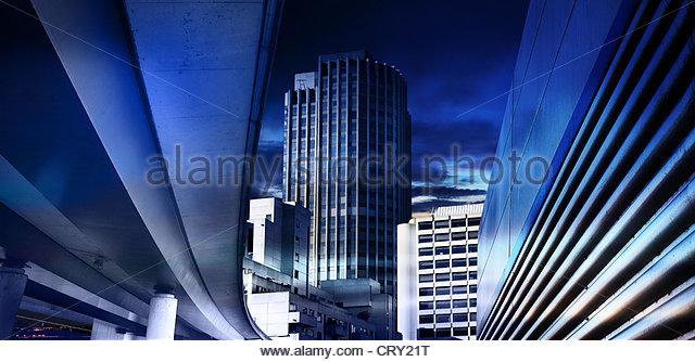 blue inner city - Stock Image