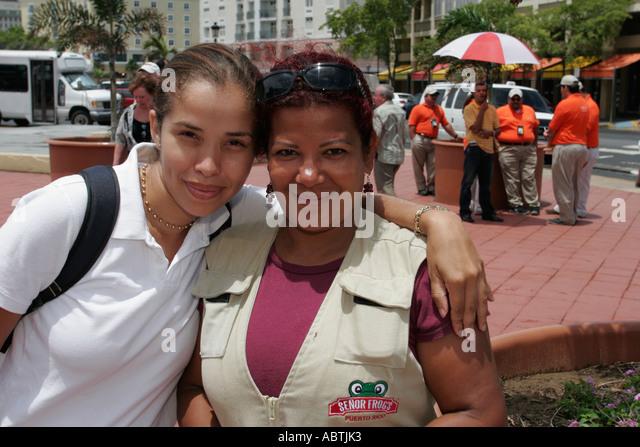 Puerto Rico San Juan Cruise Ship Port Hispanic male tour promoters - Stock Image