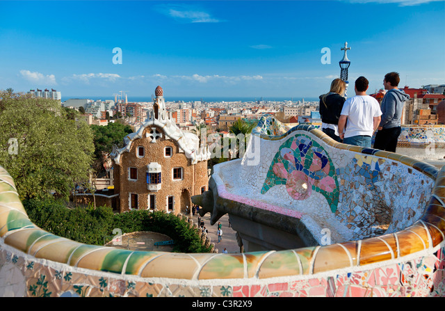 Barcelona, Park Guell By Architect Antoni Gaudi - Stock Image
