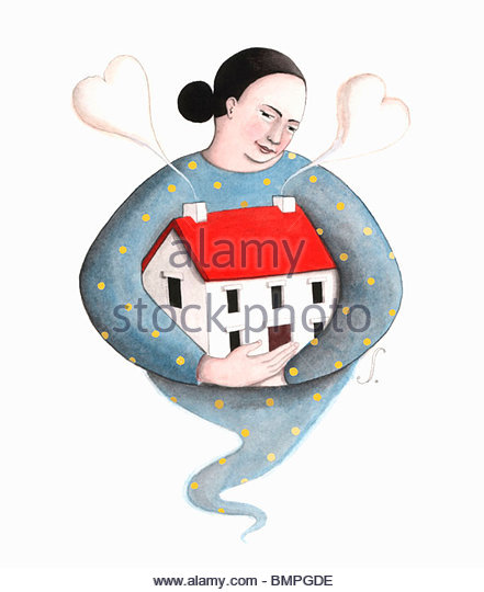 Woman hugging house - Stock Image