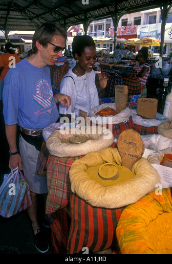 French People Students Lycee Charlemagne Stock Photos: Caribbean Spice Market Guadeloupe Stock Photos & Caribbean