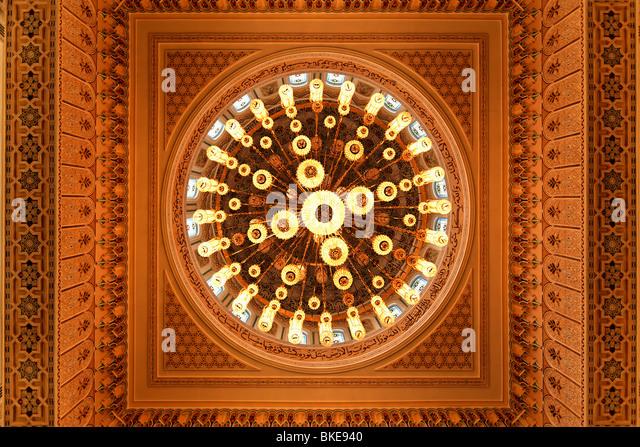 Ceiling of Mosque in Jumeirah , Dubai - Stock Image