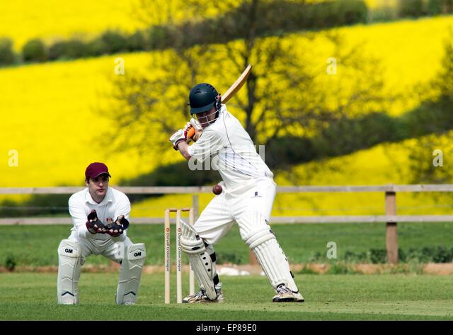 Village cricket at Horley, Oxfordshire, England, UK - Stock-Bilder