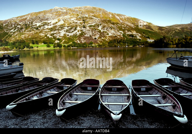 Boats for hire on Ullswater The Lake District Cumbria England - Stock Image